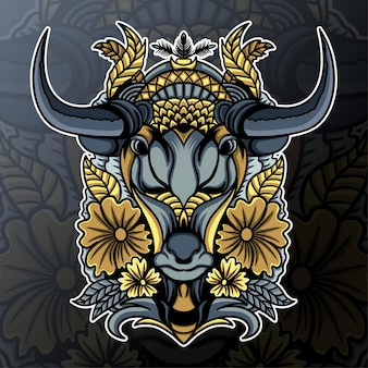Vaca-cabeça com ornamento de mandala e ilustração de flores