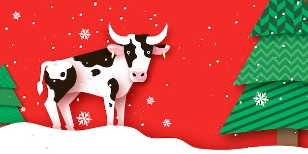 Vaca com árvores e snoflakes em fundo vermelho