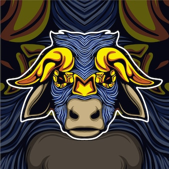 Vaca com logotipo de mascote de chifre de ouro