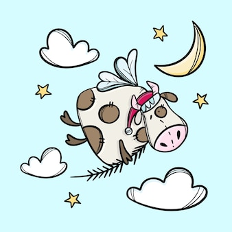 Vaca com ramo de árvore de natal e chapéu de papai noel, flying in the sky