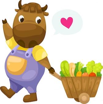 Vaca com vetor de carrinho de madeira