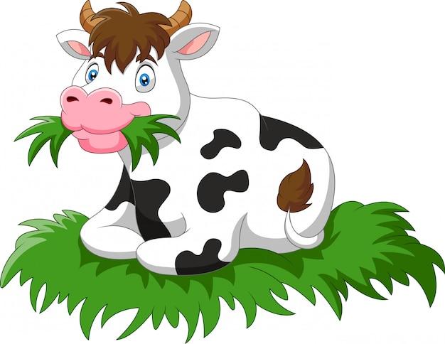 Vaca de desenho animado sente-se comendo grama