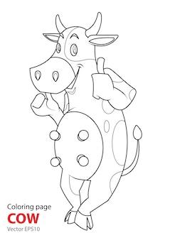 Vaca de desenhos animados está de pé sorrindo