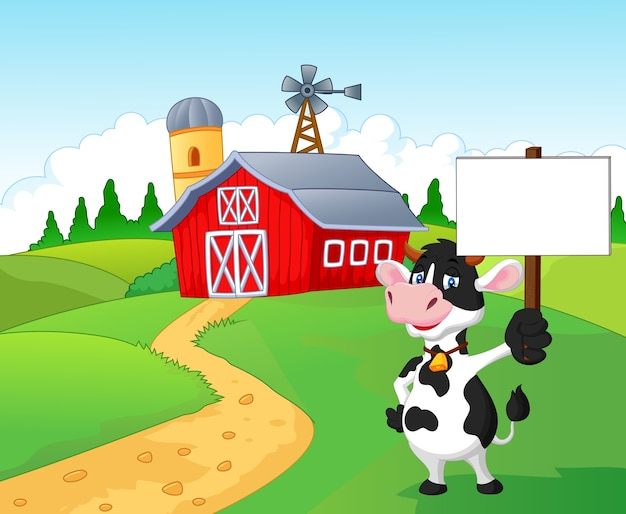 Vaca de desenhos animados segurando cartaz em branco com fundo de fazenda
