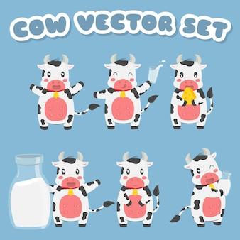 Vaca de fazenda fofa segurando coleção de leite