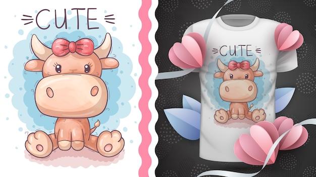 Vaca de pelúcia fofa - ideia para imprimir t-shirt