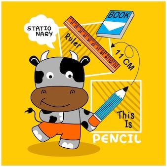 Vaca e animal engraçado estacionário desenho animado