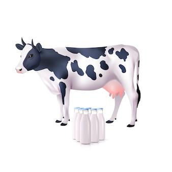 Vaca e garrafas de leite