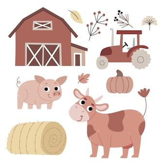 Vaca e porco na fazendaagriculturaa atmosfera do outono ilustração para livro infantil