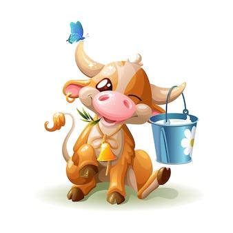Vaca engraçada com um balde de leite.