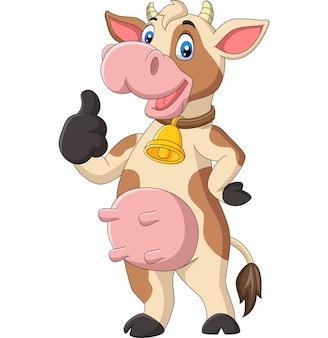 Vaca engraçada dos desenhos animados, dando o polegar para cima