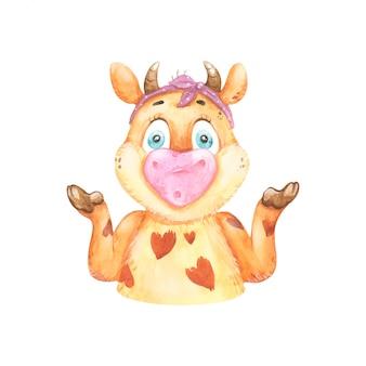 Vaca engraçada em aquarela expressando surpresa