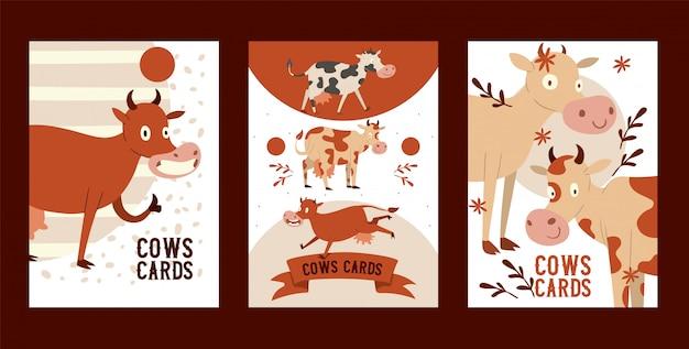 Vaca estúpida curiosa comendo grama com olhar vago conjunto de cartões animal engraçado bebê, gado dizendo moo, mostrando sinal okey com o dedo.