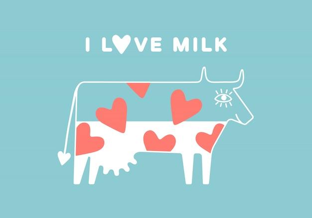 Vaca feliz com o úbere e coração vermelho cheio de leite
