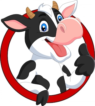 Vaca feliz dos desenhos animados, dando o polegar para cima
