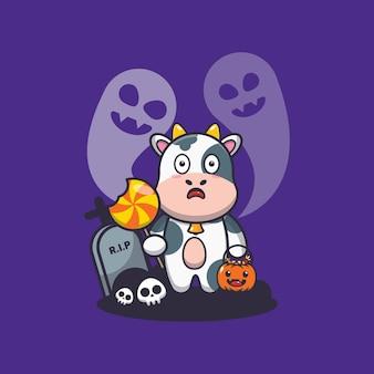 Vaca fofa assustada pelo fantasma no dia do dia das bruxas ilustração fofa dos desenhos animados do dia das bruxas