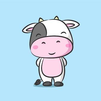Vaca fofa com cabeça grande em pé e sorrindo