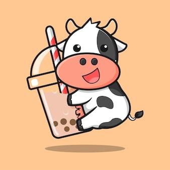 Vaca fofa com design de chá de bolhas