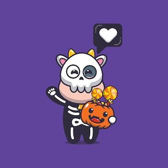 Vaca fofa com fantasia de esqueleto segurando abóbora de halloween ilustração fofa dos desenhos animados de halloween