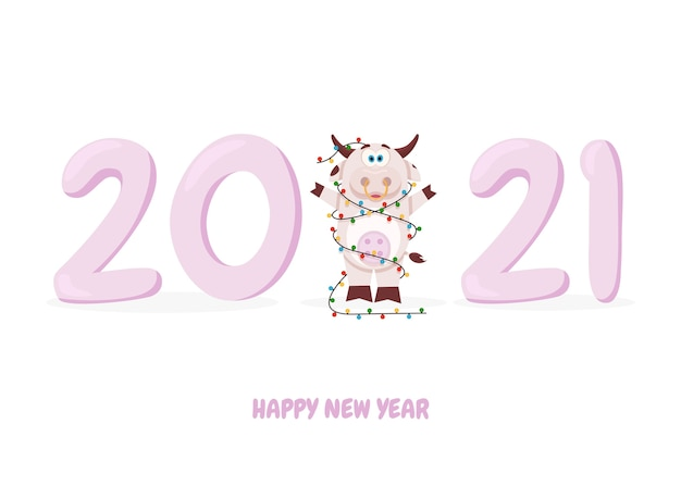 Vaca fofa e feliz ano novo