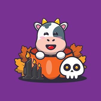 Vaca fofa na abóbora de halloween ilustração fofa dos desenhos animados de halloween