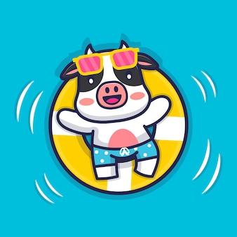 Vaca fofa nadando com ilustração de anel de natação