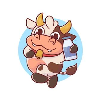Vaca fofa segurando bebida de leite animal