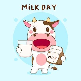 Vaca fofa segurando um copo de leite na mão.