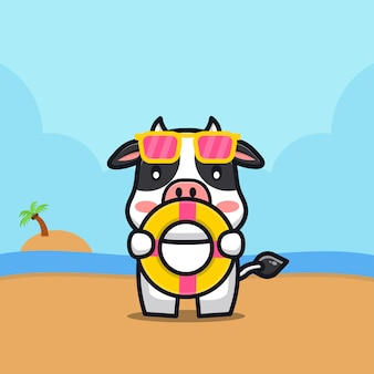 Vaca fofa segurar anel de natação ilustração dos desenhos animados conceito de verão animal