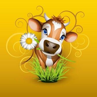 Vaca jersey fofa na grama verde sobre ouro