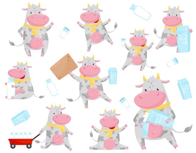 Vaca malhada bonita em conjunto de situações diferentes, personagem de desenho animado animal fazenda engraçada com leite ilustração sobre um fundo branco