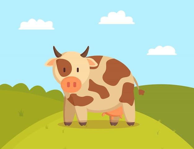 Vaca malhada pastar na ilustração do gramado