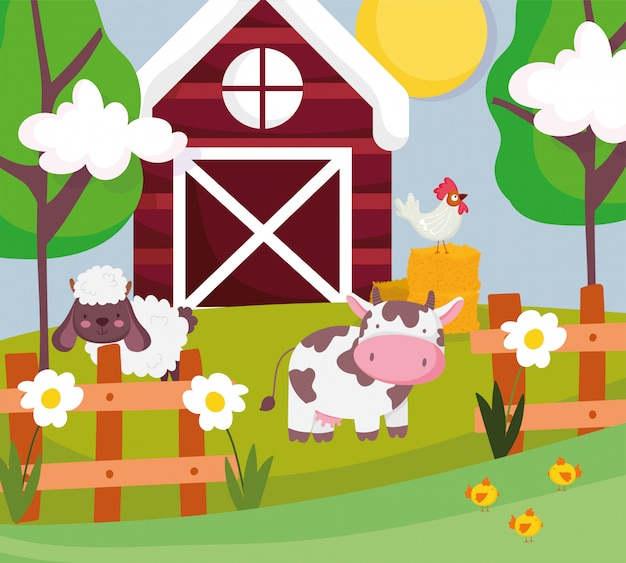 Vaca, ovelha e galo em feno celeiro cerca árvores animais de fazenda