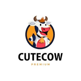 Vaca polegar para cima ilustração do ícone do mascote do logotipo