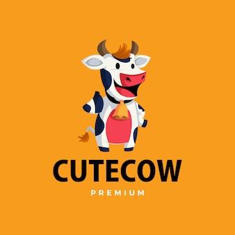 Vaca polegar para cima mascote personagem logotipo icon ilustração