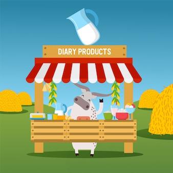 Vaca vendendo laticínios na banca de mercado, alimentos orgânicos saudáveis