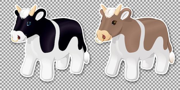 Vacas alpinas pintadas de preto e branco em um terreno com gramado e grama verde.