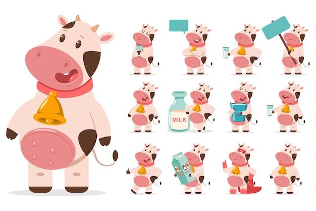 Vacas fofas com sino dourado, leite, balão de fala