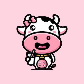 Vacas fofas estão tomando leite fresco