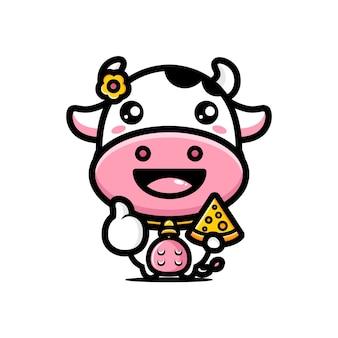 Vacas fofas gostam de queijo e boa pose