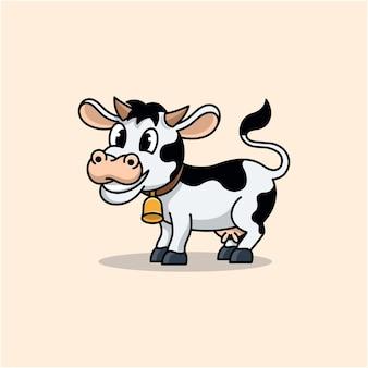 Vacas leiteiras dos desenhos animados da ilustração do logotipo do projeto da cor lisa do vetor