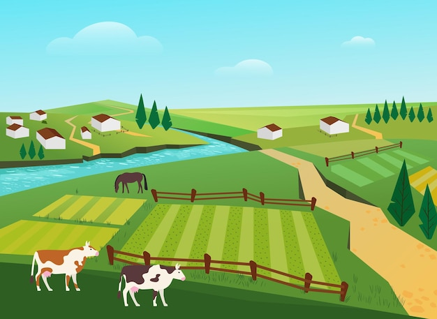 Vacas pastando no campo da vila, paisagem de verão, fazendas de gado leiteiro