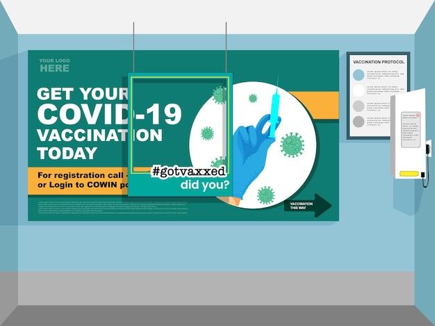 Vacid-19 vaccination today based design de banner com moldura vazia para conscientização.