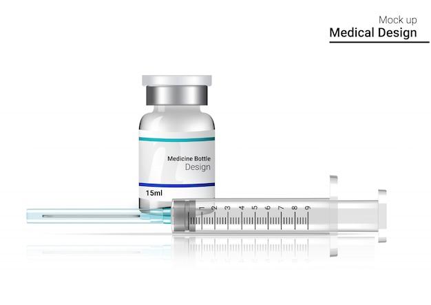 Vacina contra a gripe seringa de vacina realista