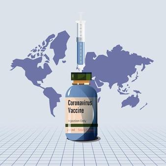 Vacina covid-19 com mapa mundial - ilustração vetorial