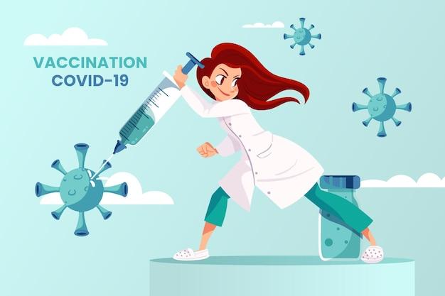 Vacina de coronavírus de desenho animado no fundo das mãos do médico