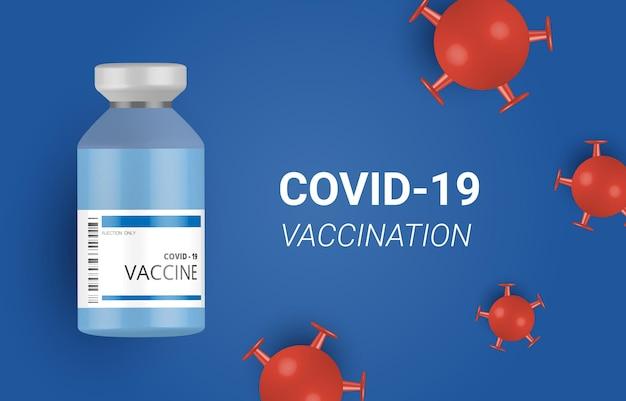 Vacina de coronavírus e prevenção de injeção de seringa, imunização de coronavírus, fundo de vetor de vacina de coronavírus. vacinação com vírus corona covid-19 com frasco de vacina