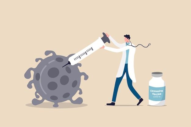 Vacina descoberta e teste, resultado do conceito de pesquisa de vacinação contra o coronavírus