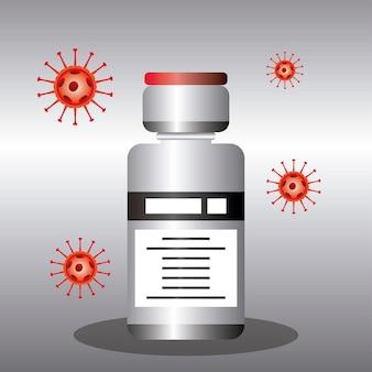 Vacina em frasco da medicina mundial, ilustração de proteção contra coronavírus