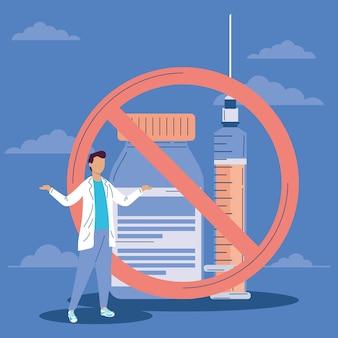Vacina hesitante médico e sinal de parada